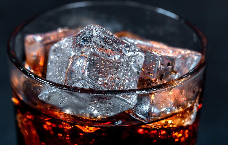 Фото обои макро, лёд, кубик, напиток, кола