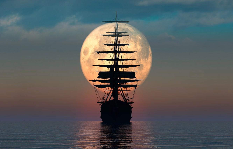 Фото обои море, луна, парусник, ремейк