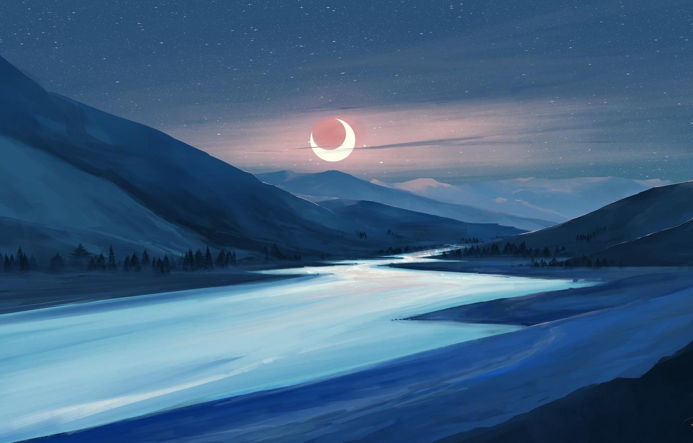 Фото обои moon, river, sky, trees, landscape, nature, eclipse, night, art, mountains, stars, artist, digital art, artwork, …