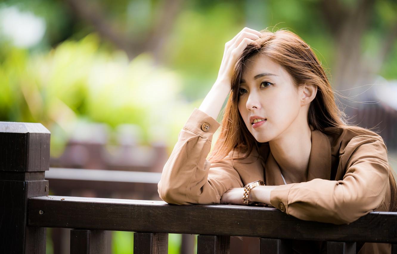 Фото обои взгляд, девушка, волосы, азиатка, боке