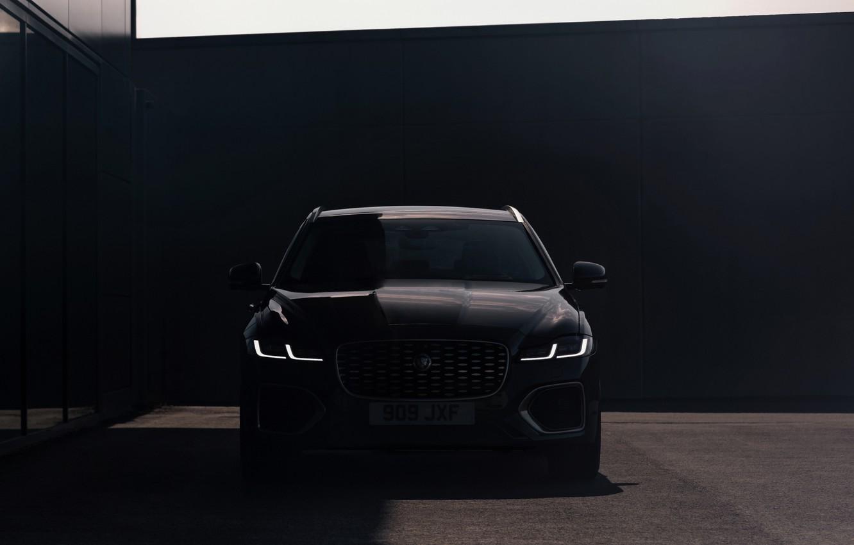 Фото обои Jaguar, тень, спереди, универсал, Jaguar XF, 2020, XF, XF Sportbrake