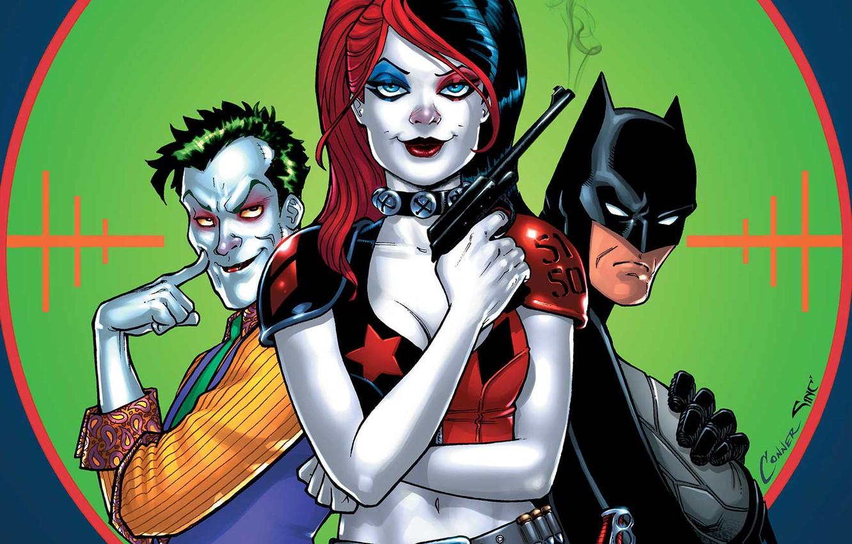 Фото обои gun, fantasy, Batman, weapon, Joker, comics, artwork, mask, superheroes, costume, fantasy art, DC Comics, Harley …