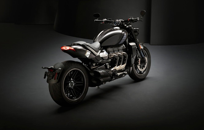 Фото обои triumph, motocycle, dark background, triumph rocket iii