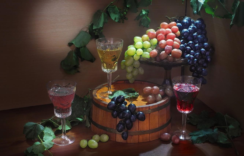 Фото обои листья, ягоды, бокалы, виноград, напитки, гроздья, Сергей Фунтовой