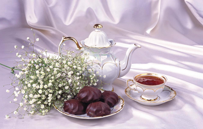 Фото обои чай, чайник, чашка, натюрморт, зефир