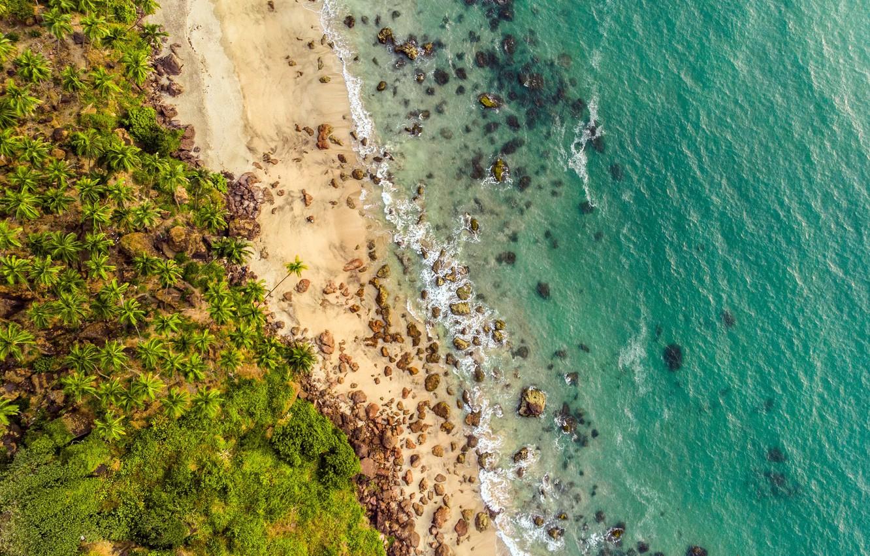 Фото обои waves, beach, rocks, sand, tide, tropical, aerial view