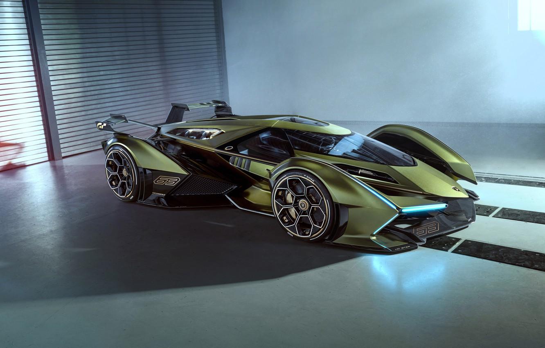 Фото обои Lamborghini, Концепт-кар, Lambo, Диски, V12, Антикрыло, Vision Gran Turismo, 2019, Lambo V12 Vision
