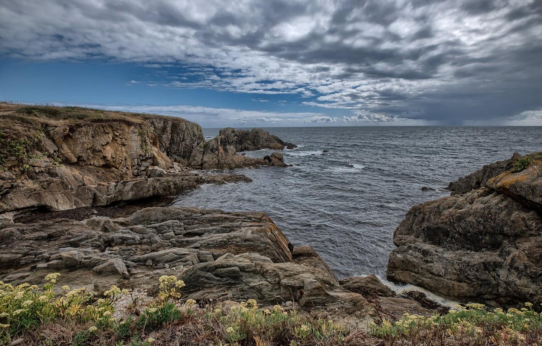 Фото обои скалы, побережье, Франция, Бретань