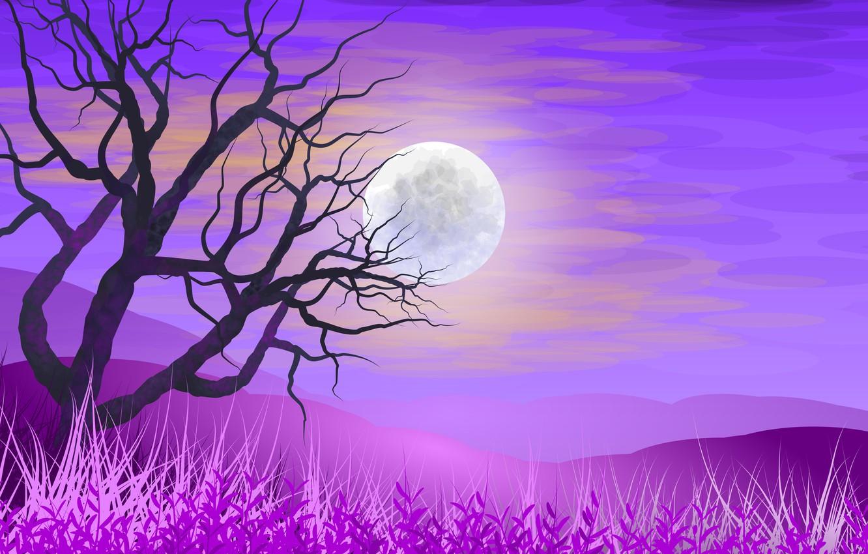 Фото обои небо, трава, дерево, Луна, векторная графика