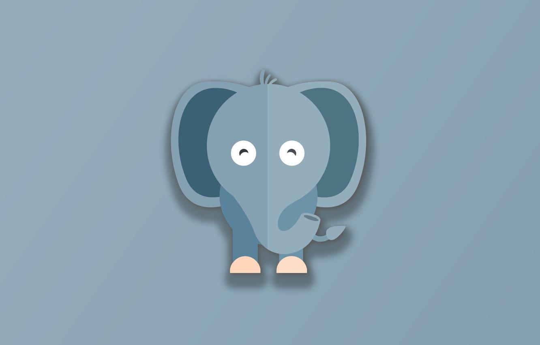 Фото обои minimalism, animal, funny, digital art, artwork, cute, Elephant, simple background, gray background