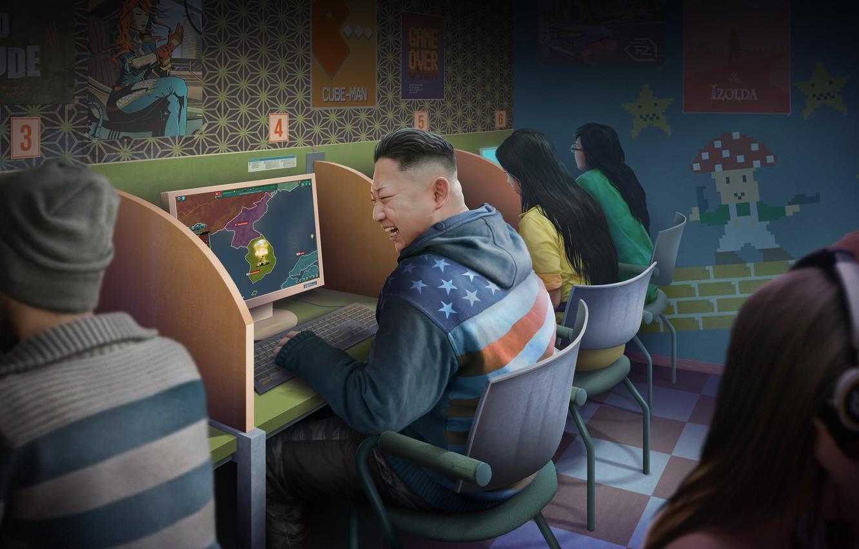 Фото обои Игра, Компьютер, Люди, Арт, Art, Корея, Смех, Game, Leader, Северная Корея, Лидер, КНДР, Зал, Game …