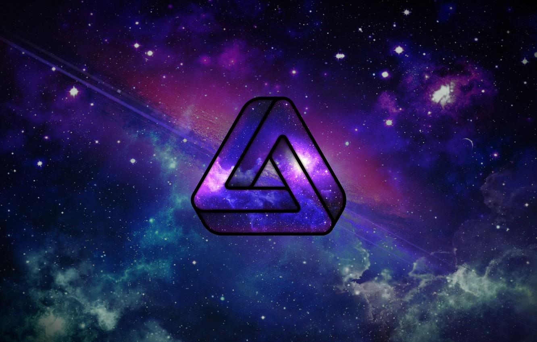 Фото обои космос, невозможная фигура, космос абстракция, невозможный треугольник