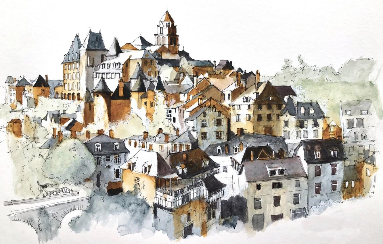 Фото обои рисунок, Nouvelle-Aquitaine, Arrondissement de Tulle, Uzerche