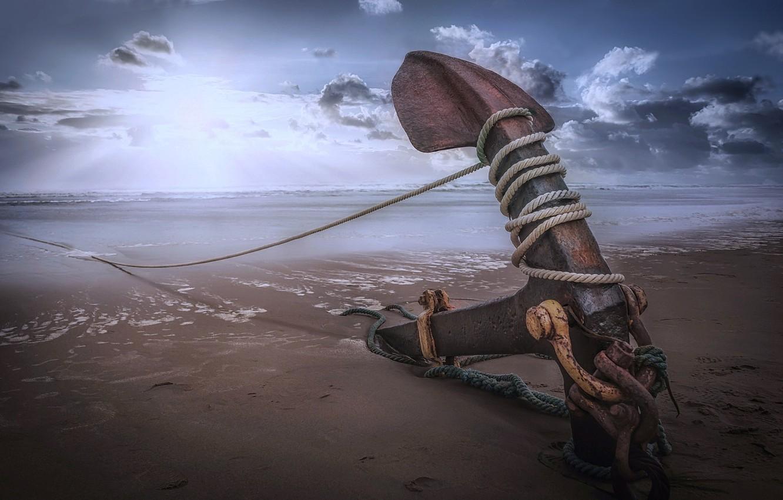 Фото обои beach, sea, rope, anchor, sailor anchor