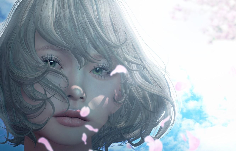 Фото обои взгляд, лицо, волосы, Девушка