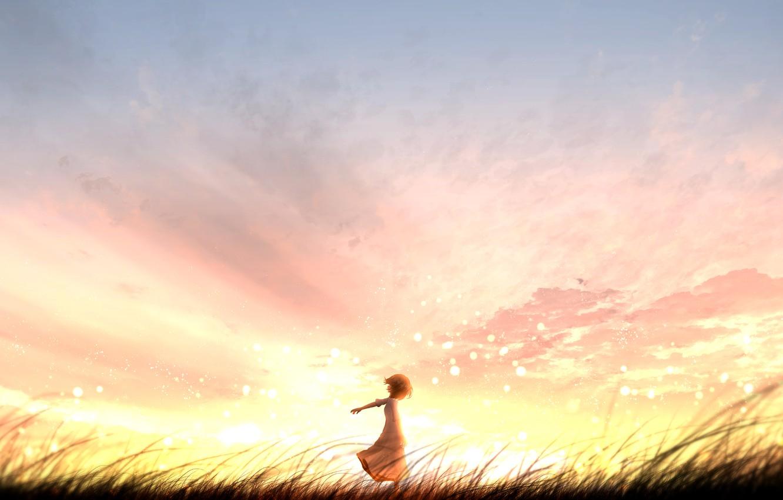 Фото обои закат, природа, девочка