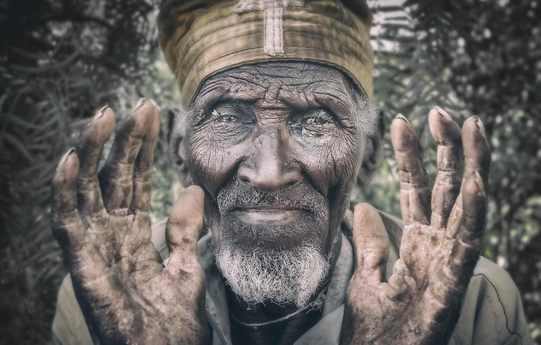 Фото обои Portrait, Ethiopia, Lalibela, Orthodox priest