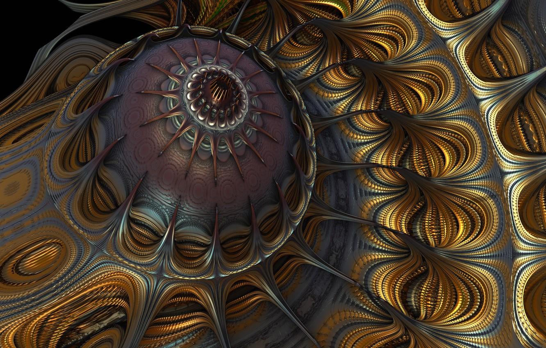 Фото обои узор, медуза, фрактал, объем
