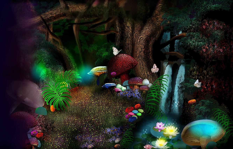 Фото обои бабочки, цветы, грибы, flowers, mushrooms, fantasy art, butterflies, magic forest, волшебный лес, фэнтези арт, большие …