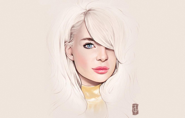 Фото обои Девушка, Минимализм, Блондинка, Губы, Girl, Глаза, Фон, Арт, Beautiful, Sexy, Art, Eyes, Секси, Красивая, Background, ...