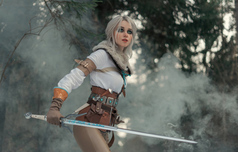Фото обои взгляд, меч, бой, дымка, sword, стойка, fight, косплей, cosplay, look, stand, haze, The Witcher 3, …