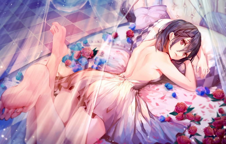 Фото обои Цветы, Девушка, Кровать, Розы, Арт