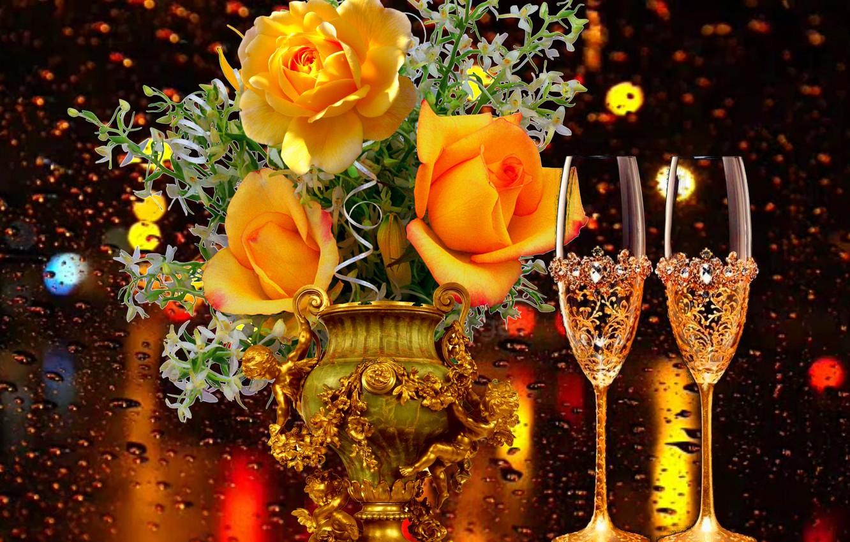 Фото обои дождь, вечер, бокалы, Розы