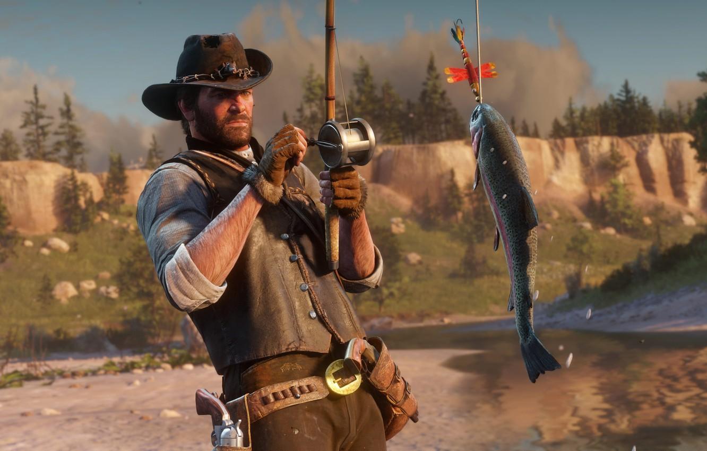 Фото обои рыбалка, рыба, шляпа, удочка, Rockstar, Бандит, Red Dead Redemption 2