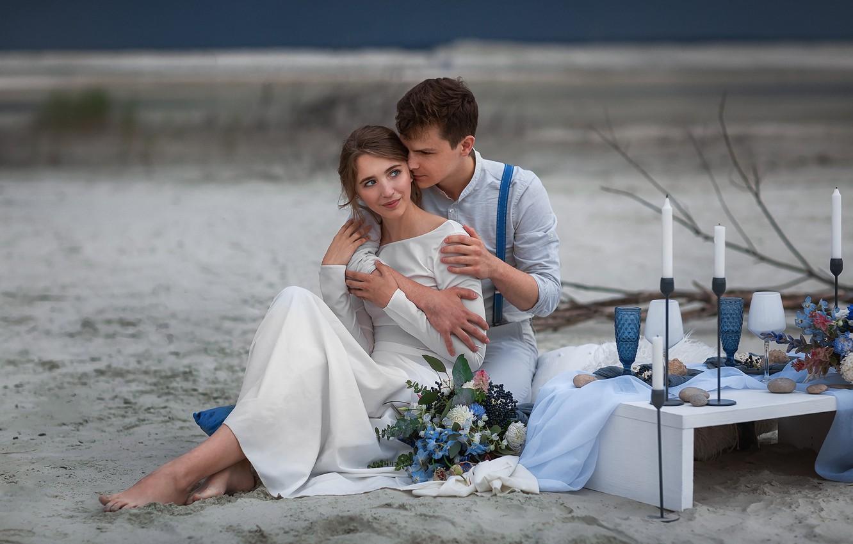 Фото обои девушка, букет, платье, объятия, мужчина, влюбленные, свадьба, Бармина Анастасия