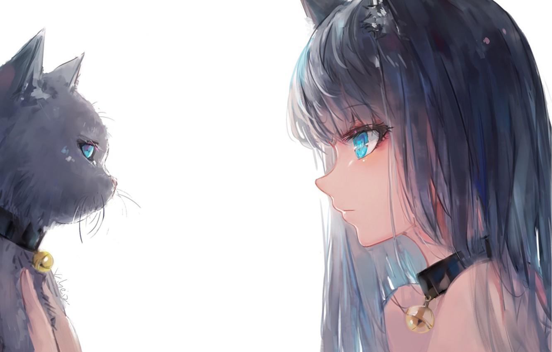 Фото обои белый фон, ошейник, голубые глаза, черный кот, ушки, тет-а-тет, art, челка, в профиль, бубенчик, глаза …