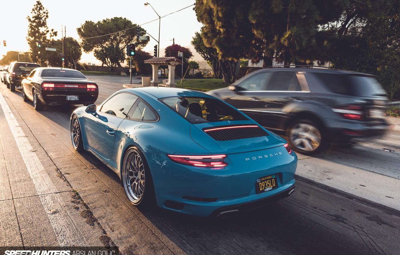 Фото обои дорога, машины, город, голубой, 911, Porsche