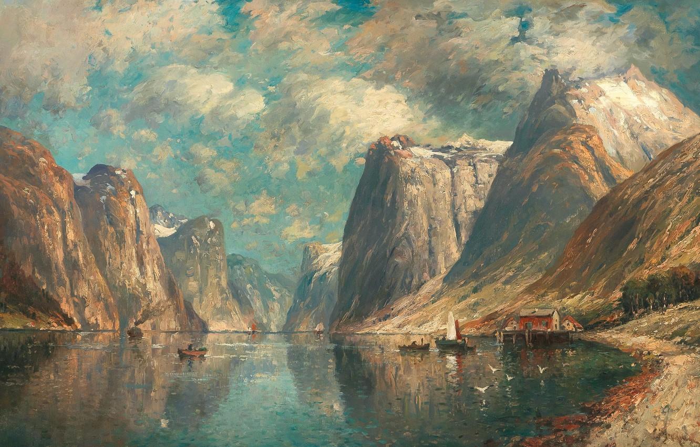 Обои Alois Arnegger, Alois Arnegger, австрийский живописец, Austrian painter, Woodland Landscape in Autumn, Лесной пейзаж осенью, oil on canvas. Разное foto 9