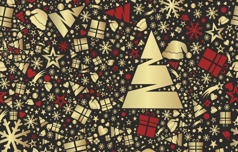 Фото обои снежинки, фон, праздник, текстура, подарки, Новый год, ёлки