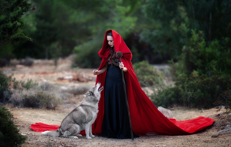 Фото обои девушка, животное, собака, брюнетка, капюшон, посох, пёс, Кузнецова Виктория