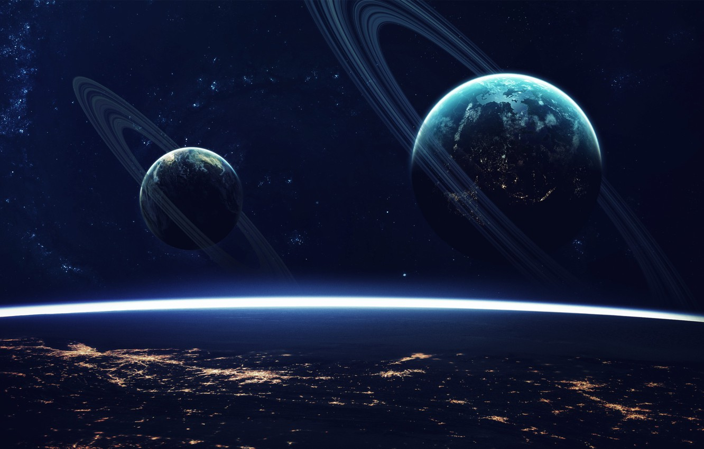 Фото обои Звезды, Планета, Космос, Планеты, Surface, Planets, Кольцо, Арт, Stars, Space, Art, Кольца, Planet, Поверхность, Rings, …