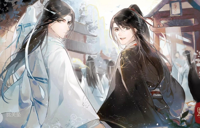 Фото обои длинные волосы, два парня, вполоборота, китайская одежда, Mo Dao Zu Shi, Магистр дьявольского культа, Вэй …