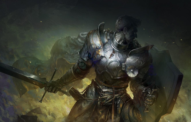 Фото обои sword, fantasy, armor, man, digital art, artwork, shield, warrior, fantasy art, Knight, armored