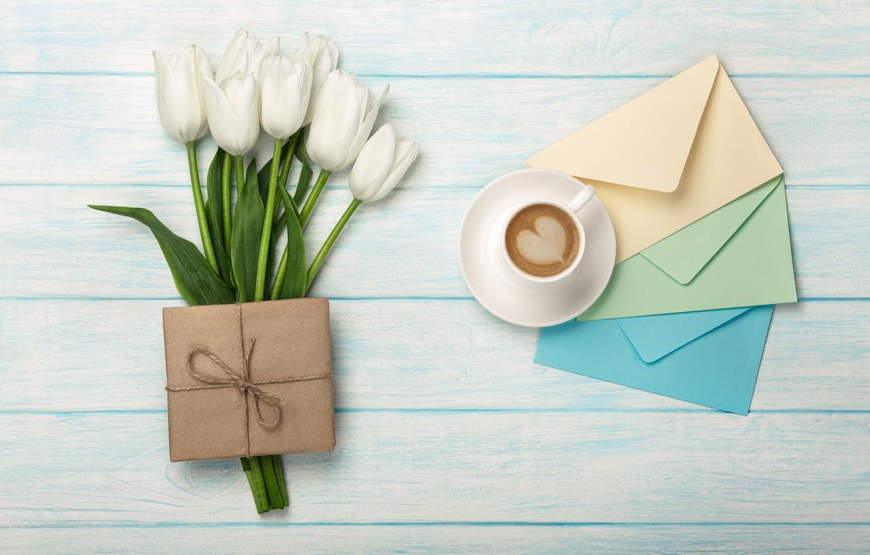Фото обои цветы, подарок, сердце, букет, тюльпаны, white, heart, flowers, romantic, tulips, coffee cup, with love, чашка …