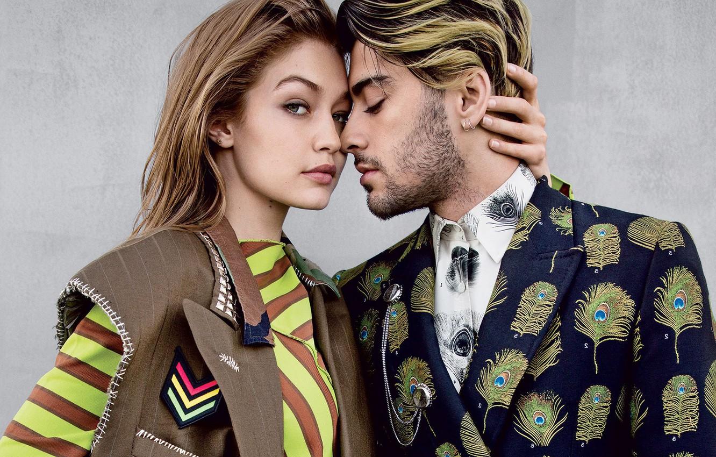 Фото обои девушка, объятия, мужчина, влюбленные, Vogue, Gigi Hadid, Zayn Malik