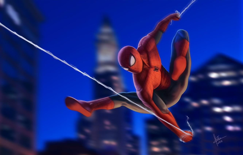 Фото обои Night, New York City, Marvel, Peter Parker, Spider Man, Fly