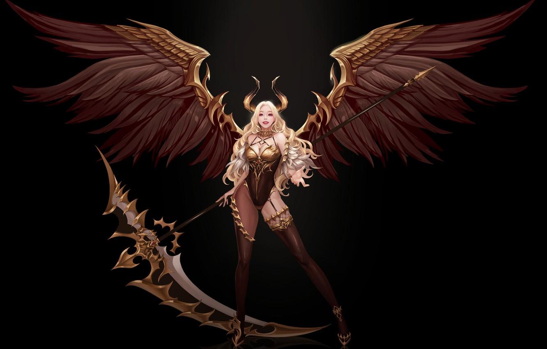Фото обои поза, улыбка, крылья, фэнтези, арт, рога, черный фон, демоница