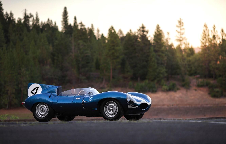 Фото обои Синий, Classic, Автоспорт, Спортивный автомобиль, Jaguar D-Type