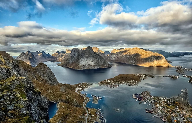 Фото обои море, горы, берег, Lofoten islands