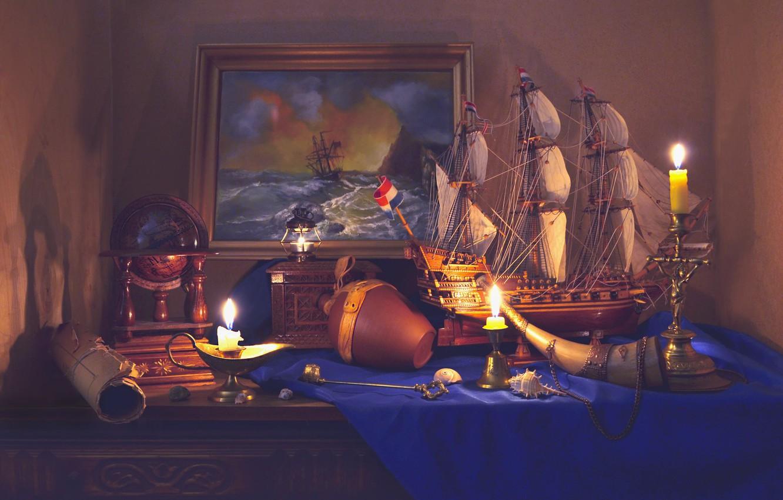 Фото обои корабль, картина, свечи, натюрморт, глобус, свиток, Валентина Колова