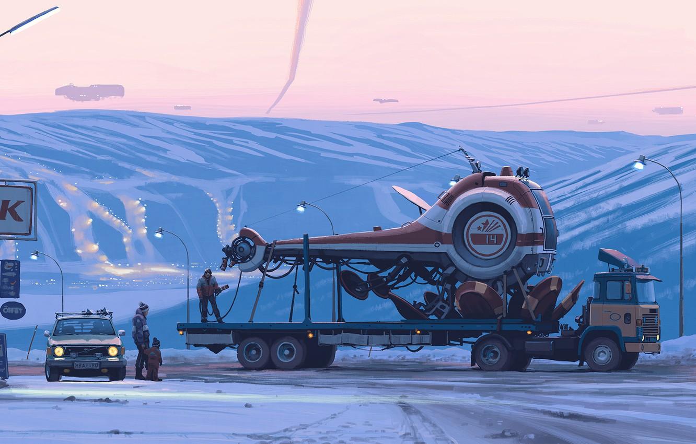 Фото обои car, fantasy, twilight, sunset, science fiction, winter, snow, spaceship, people, sci-fi, truck, cyberpunk, artist, digital …