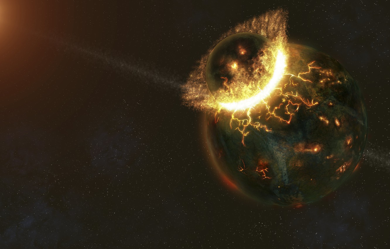 Фото обои огонь, планеты, катастрофа, удар, разрушение, столкновение
