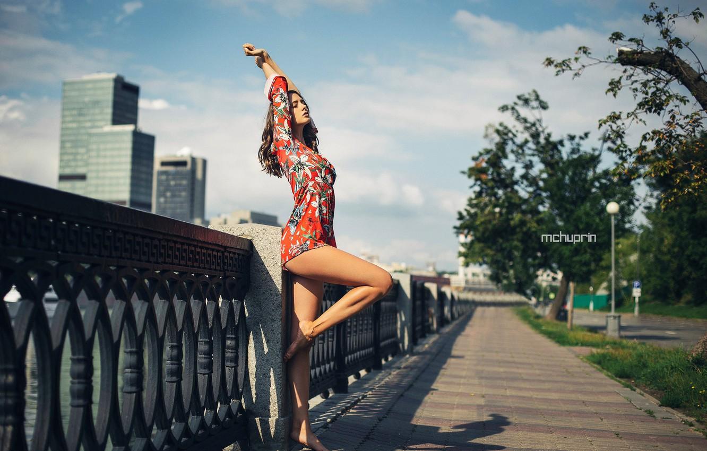 Фото обои Девушка, платье, ножки, Disha Shemetova, Maksim Chuprin
