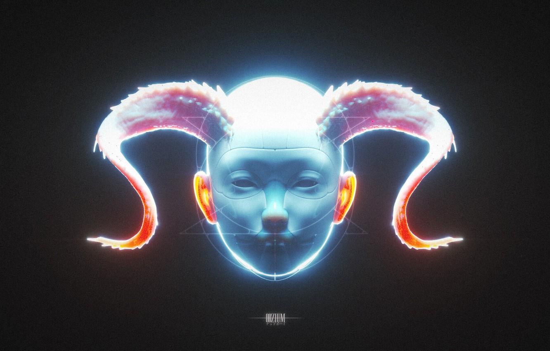 Фото обои лицо, фигура, рога, голубой цвет, OOZIUM
