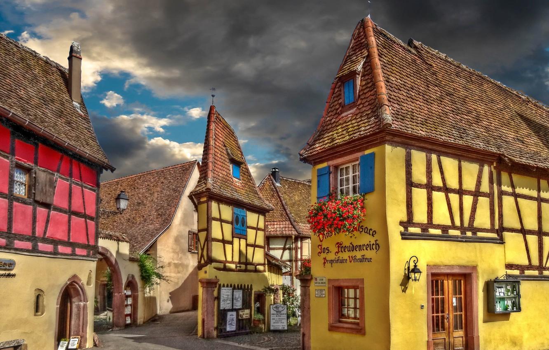 Фото обои дом, улица, Франция, деревня, Эгисхайм