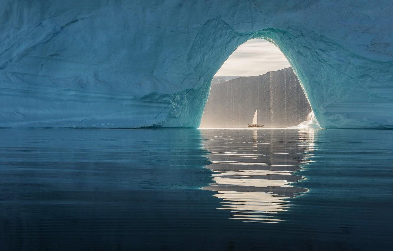 Фото обои море, корабль, ледник, арка